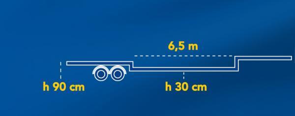 VASCA ALLUNGABILE | Altezza da terra piano di carico: 30Cm | Lunghezza: 6,50Mt | Allungabile a 10,00Mt | Carico utile: Max 22Ton.