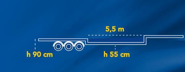 VASCA | Altezza da terra piano di carico: 55,00Cm | Lunghezza piano di carico: 5,50Mt | Carico utile: Max 22Ton.
