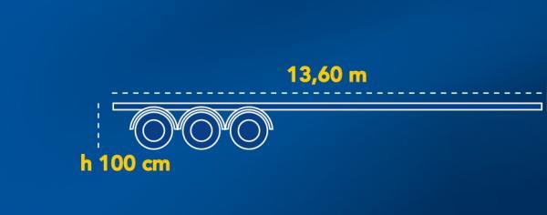 PIANALE FLAT CON RAMPE IN REGIME ADR | Altezza da terra piano di carico: 100Cm | Lunghezza: 13,60Mt | Allungabile a: 19,00Mt | Carico utile: Max 26Ton.
